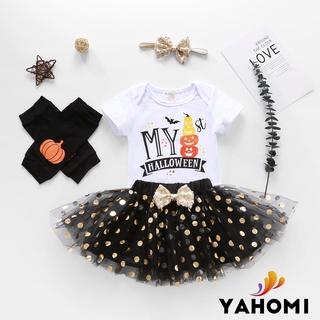 My 1st New Year Outfit Newborn Baby Girl Clothes Romper Top+Tutu Tulle Polka Skirt+Leg Warmer Headband 4PCS Dress Set