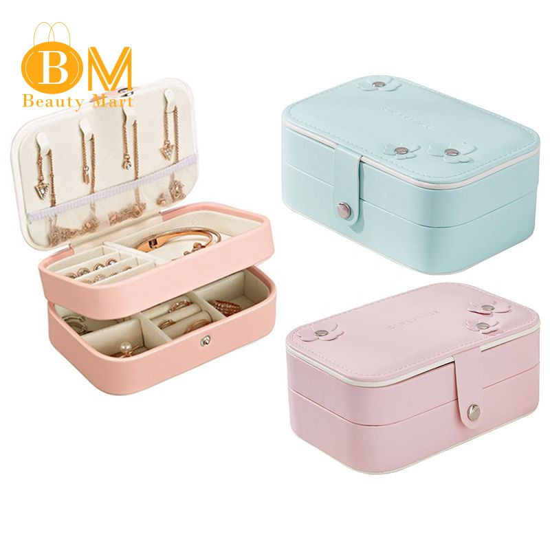 496227326f73 ☀Portable Women Jewelry Box Storage Organizern 2-Layer Boxes(Orange)