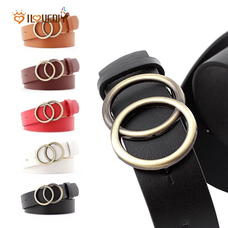 Women Vintage Metal Boho Leather Practical Double Buckle Waist Belt Waistband