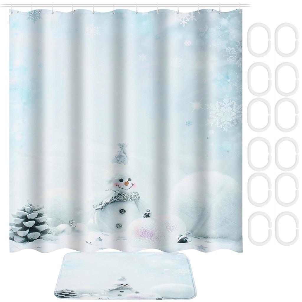 Zj Christmas Snowman Waterproof Fabric Bath Shower Curtain 12 Hooks Bathroom Mat