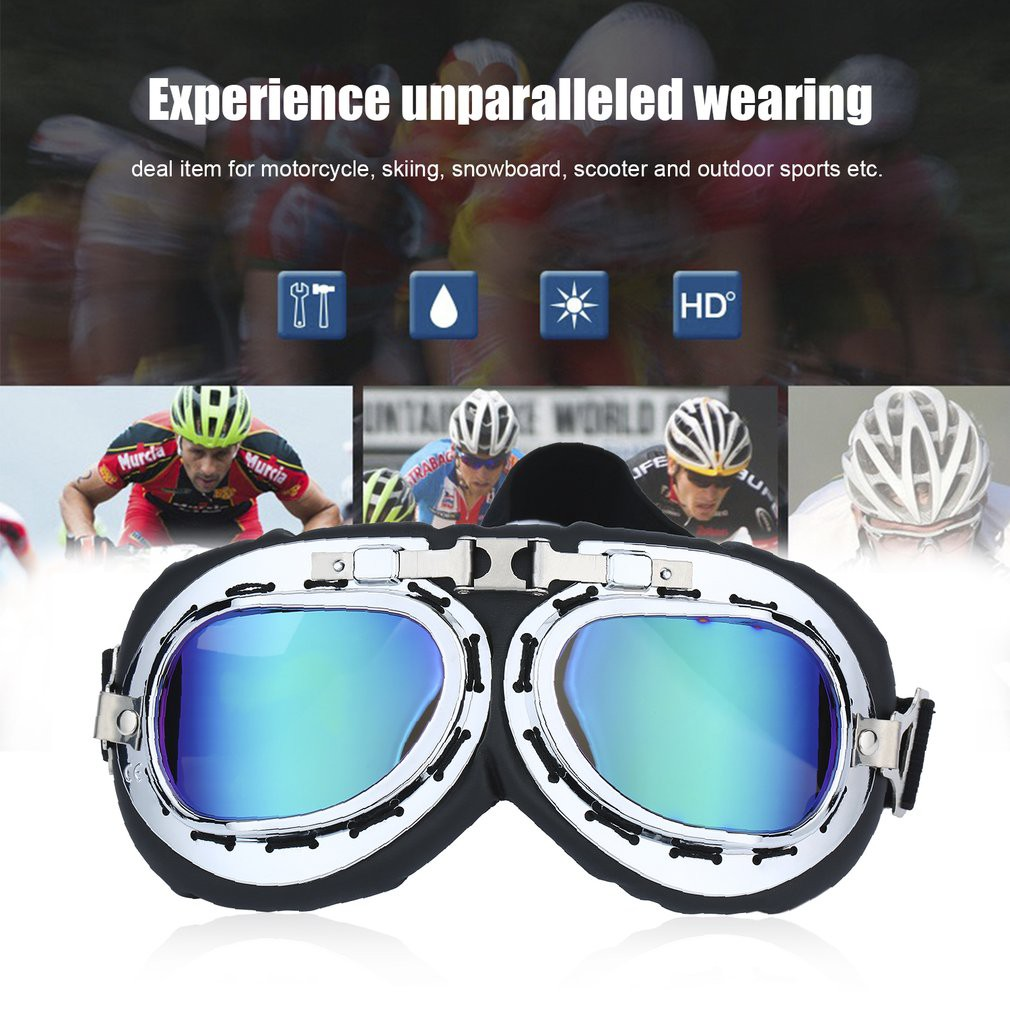4aa117c279 Vintage Anti-UV Motorcycle Scooter Pilot Goggles Helmet glasses Motocross