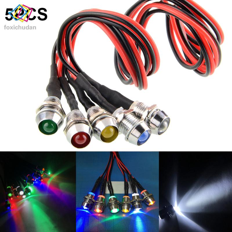 FCD 5Pcs 12V LED Dash Panel Indicator Warning Light Lamp for