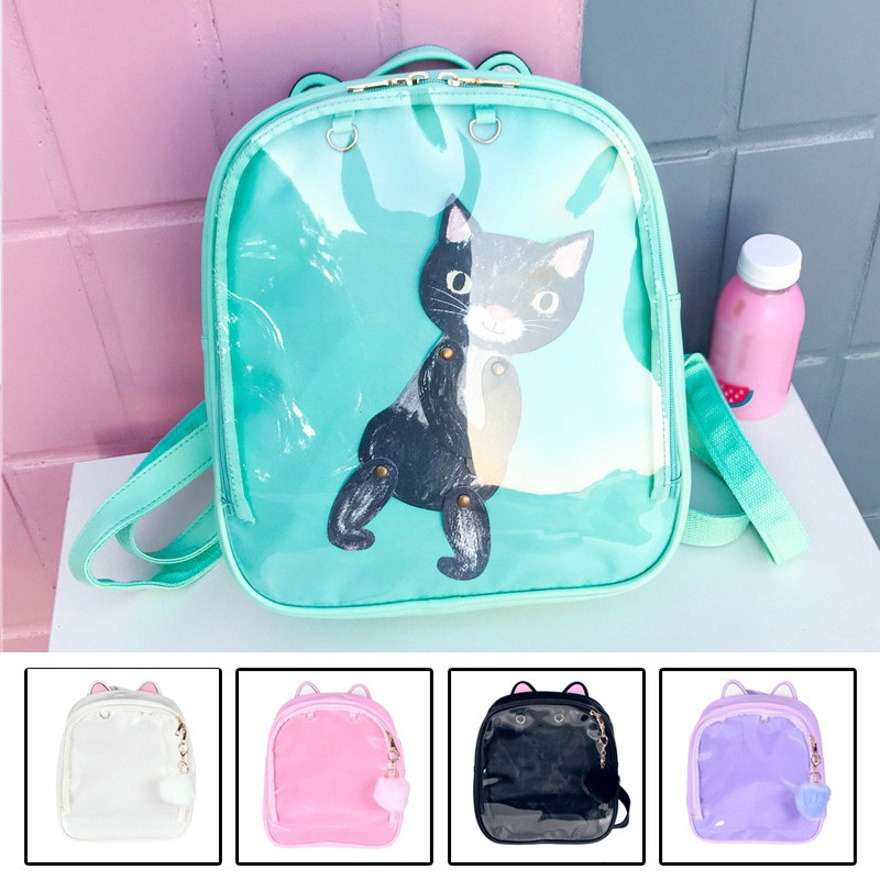 FSTY CLEAR ita bag Transparent bag Pin Display Backpack Kids school  shoulders bags  97fa42f40ef53