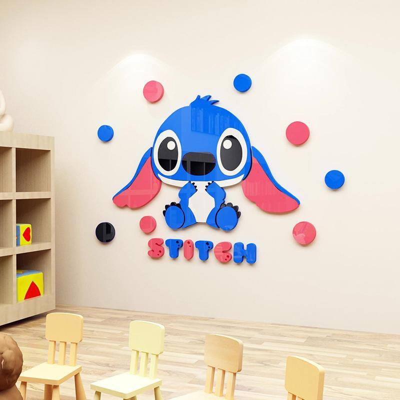 Cute Stitch 3d Stereo Wall Stickers Decoration Waterproof Wallpaper For Bedroom Shopee Philippines