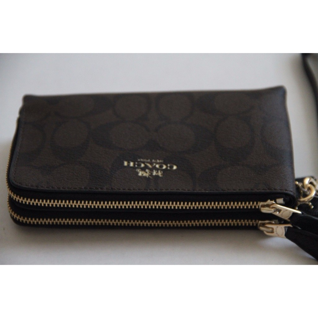 38128798 Coach Double Corner Zip Wristlet/Wallet in Signature | Shopee ...