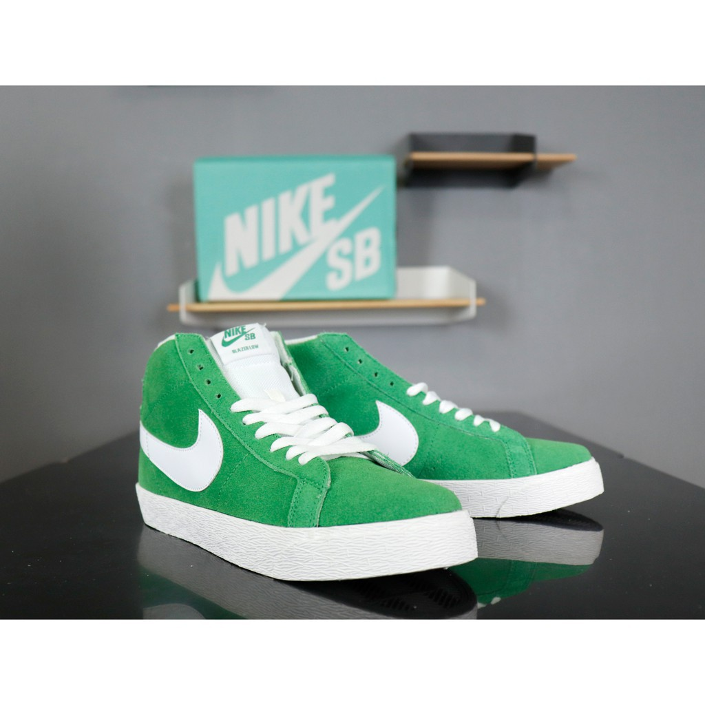 reputable site 27d91 d1d06 nike sb zoom blazer mid decon864349-002 grass green high top