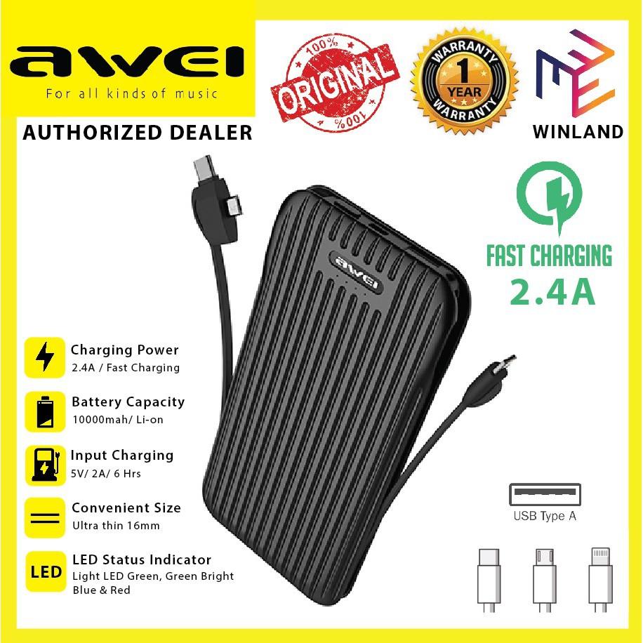 Awei Original Ultra Slim Fast Charging Power Bank Powerbank 10000mah with Built-in Cable P80K