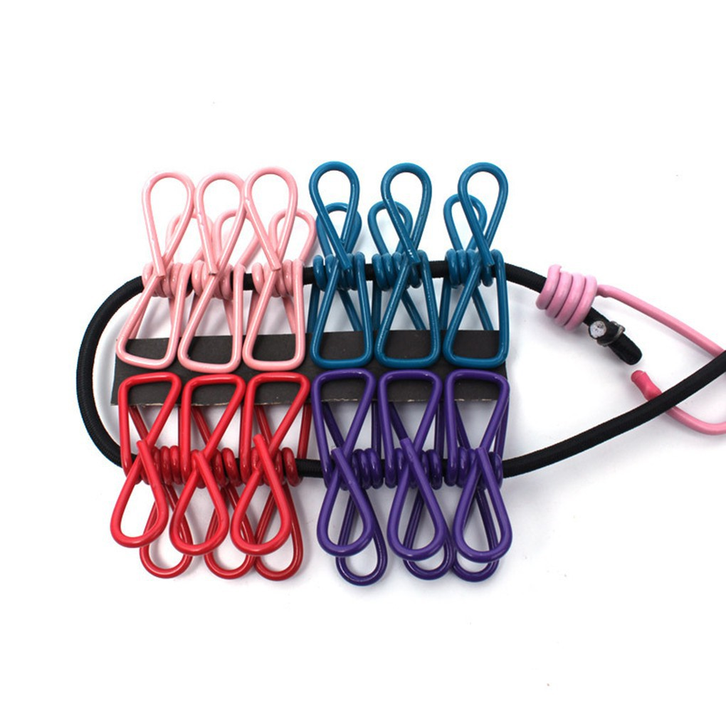 Portable Travel Camping Clothesline Washing Clothes Line Rope with 12 Clips Pegs