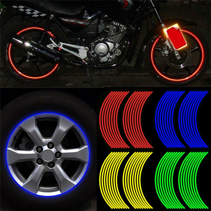 Neon Gold Bike BMX Car Rim Wheel Stickers Tape Reflectors
