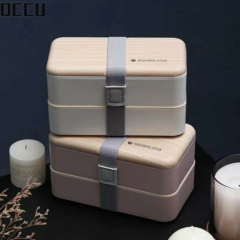 2 Layers Microwave Wooden Lunch Box Japanese Bento Box Wood Food Container Case