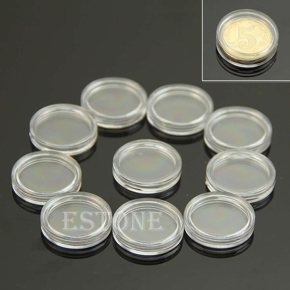 10 Pcs//set Clear Round Plastic Coin Capsule Container Storage Box Holder Case