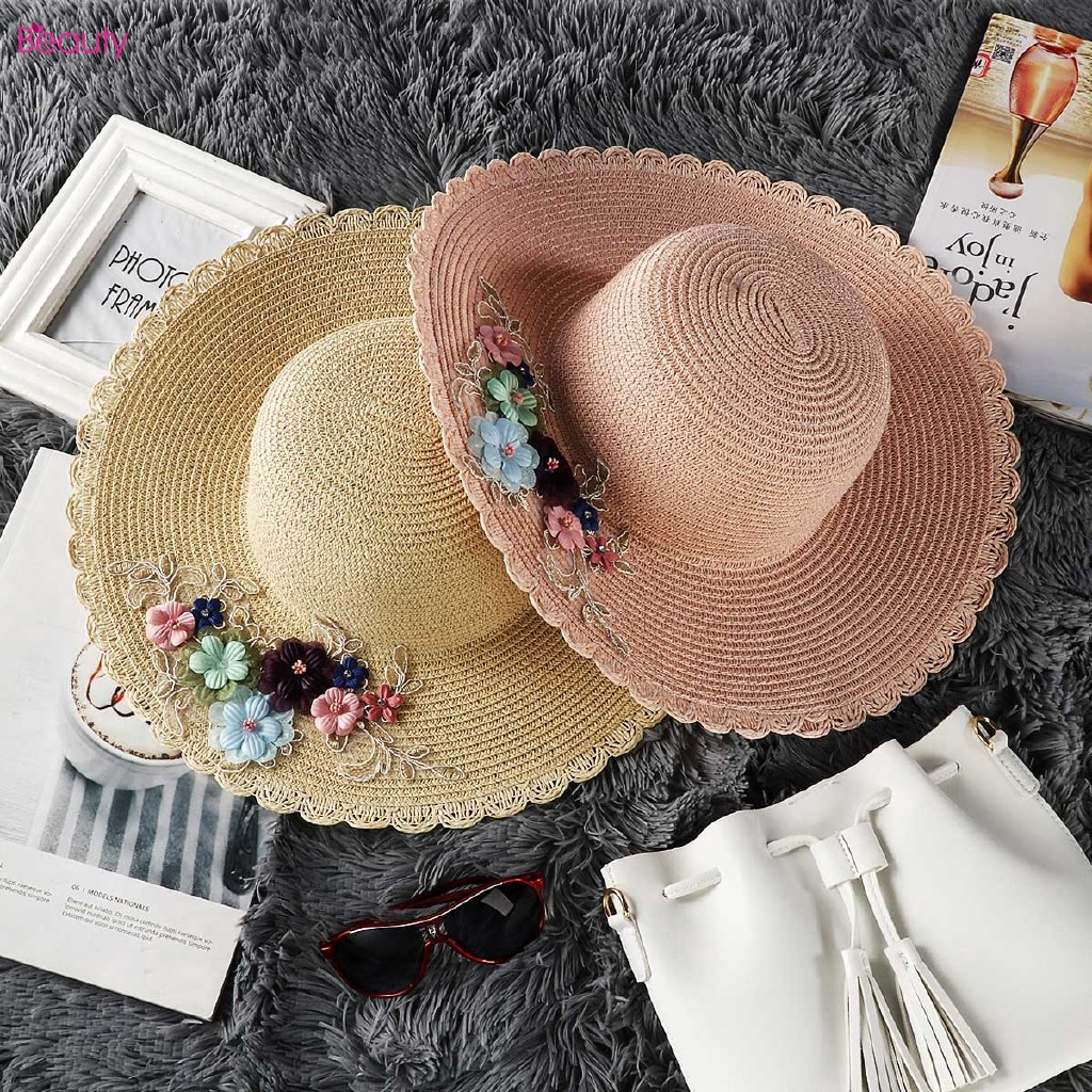 735253911 ProductImage. ProductImage. Big Embroidered Beach Hat Sequins Straw Hat  Summer