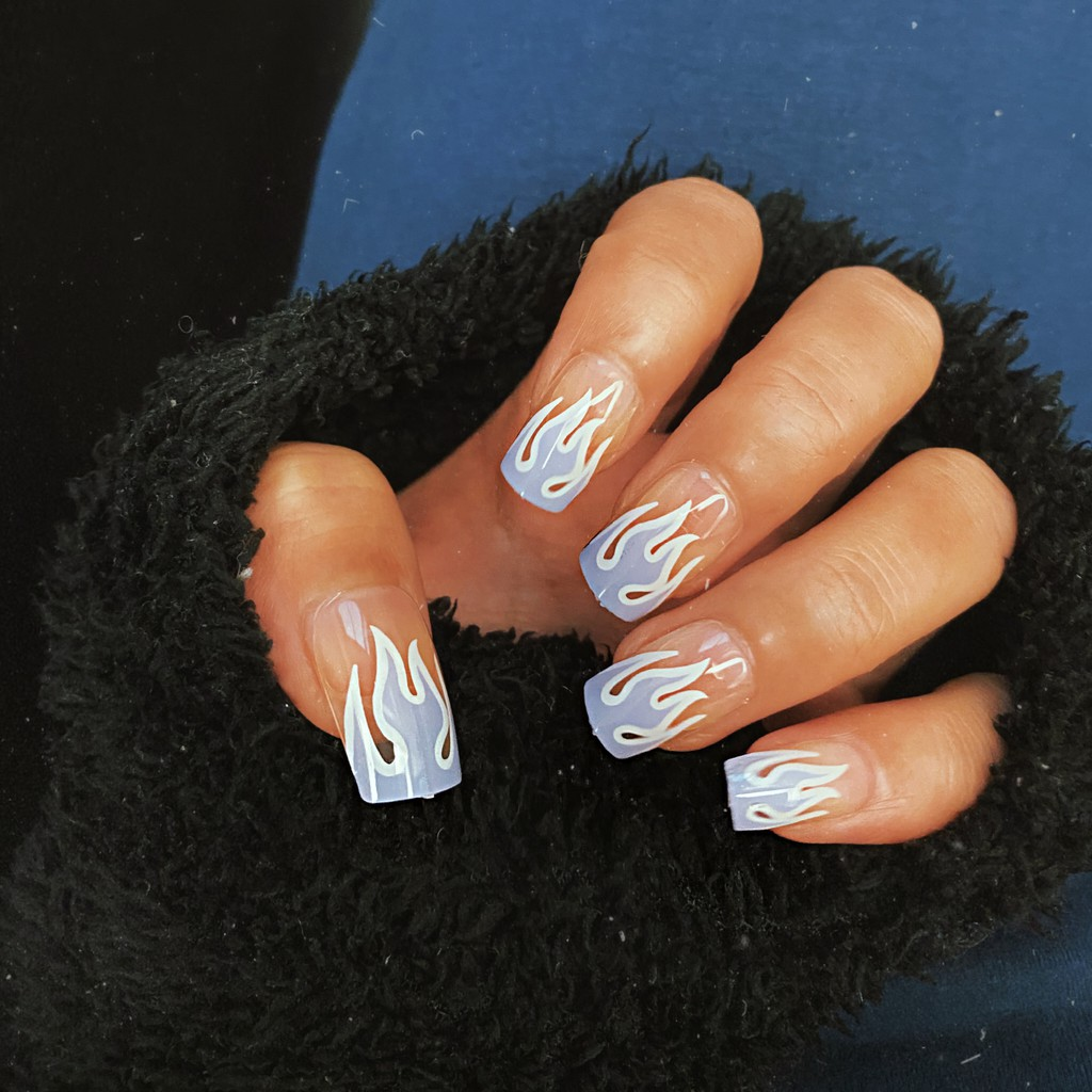 24pcs Special Design Light Blue Fire Pattern Decor Finished Fake Nails  Patch Waterproof Mid-length Detachable Nails | Shopee Philippines