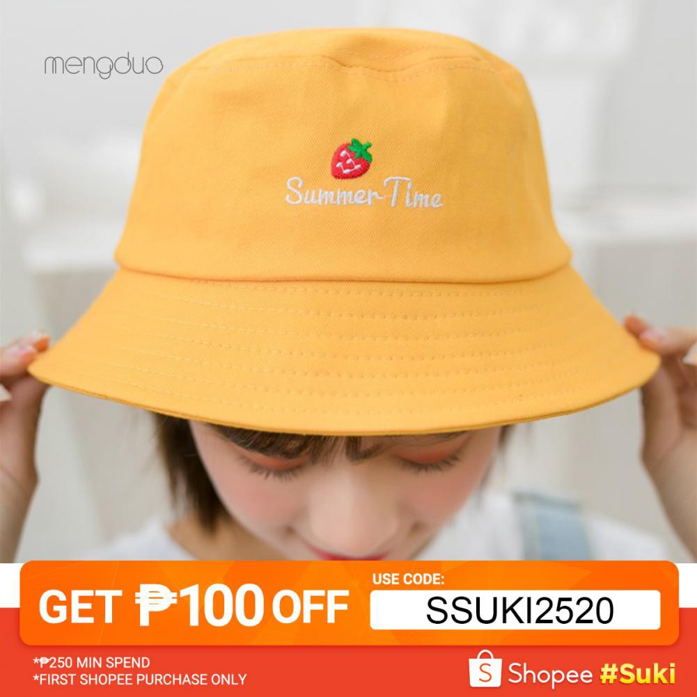 c53e2320a Strawberry Letter Embroidered Folding Fisherman Hat Outdoor Men Women  Bucket Cap