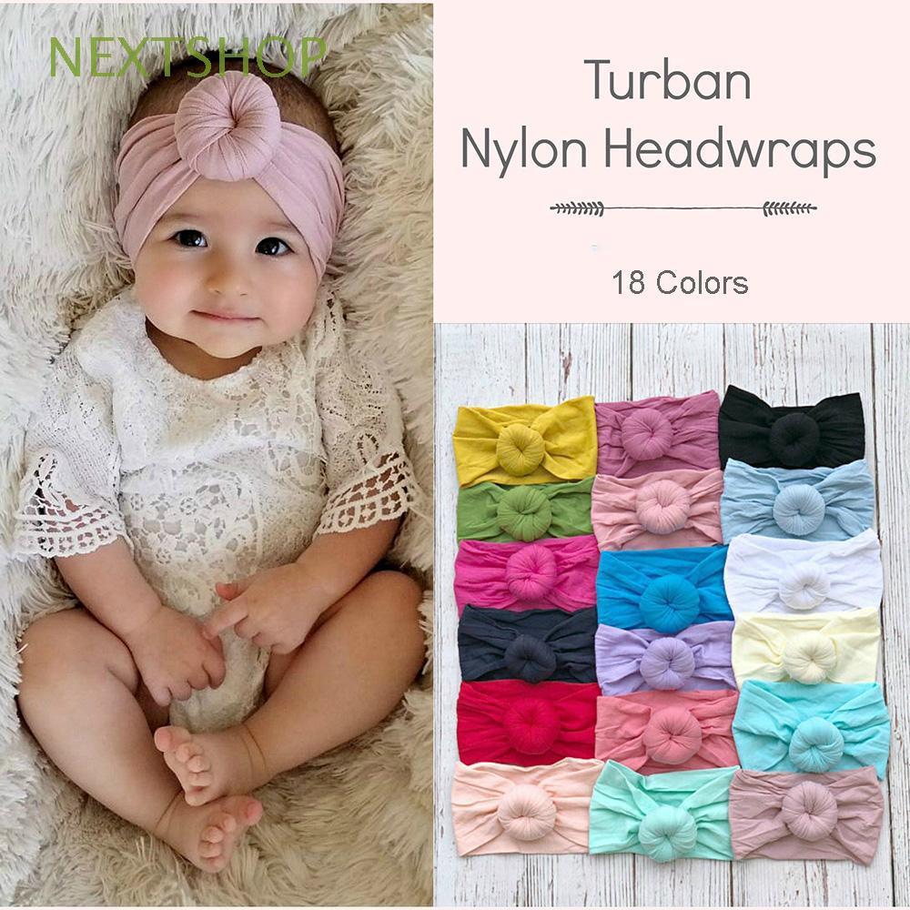 Baby Girls Soft Headbands Hairband Headwrap Elastic Solid Color Turban
