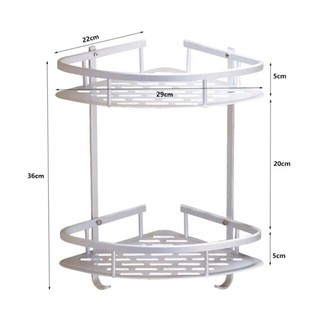On Hand Triangular Bathroom Corner Organizer Rack With Hook 2 Layer Shopee Philippines