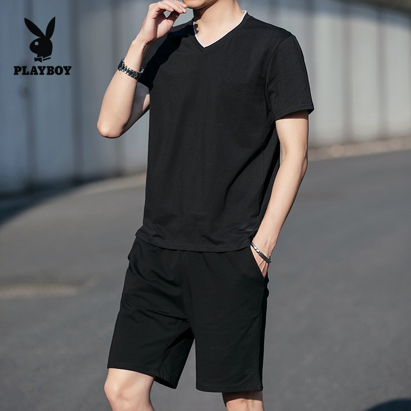 2020 Men S Summer Short Sleeved Sports Suit Men S Casual T Shirt Shorts Fashion Sportswear Slim Running Suit Shopee Philippines