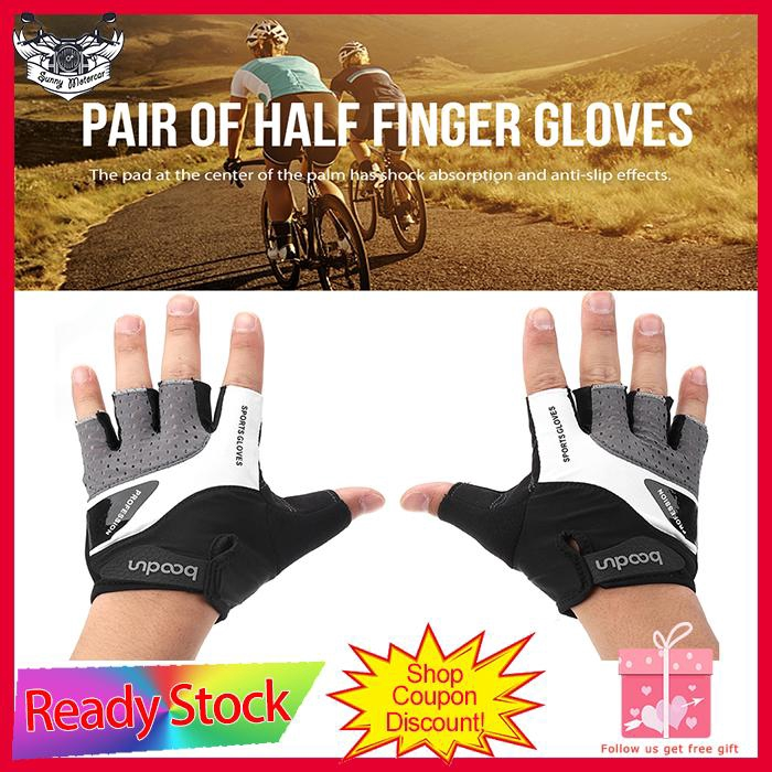 Bicycle Road Racing Gloves Lycra NonSlip Shock Absorber Half Finger Glove M//L//XL
