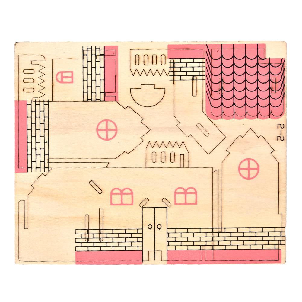 jigsaw child craft model house 3d toys wooden kid puzzle