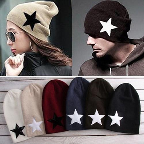 Star Skull Beanie Perfect Ski Women Men Knit Cap Hip-Hop Cuff Hat