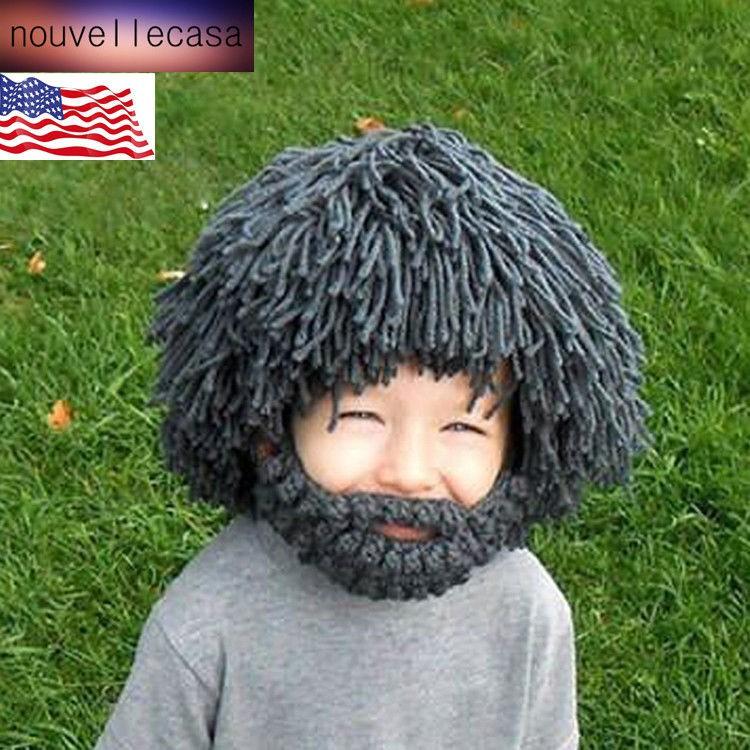 d01d7934ac5 Knitted Men Hats Beard Beanie Wig Crochet Mustache Face Hat Cap Winter Hats  Warm