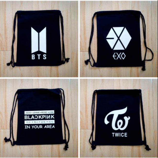 KPOP STRING BAGS - BTS Stringbag! EXO Stringbag! BlackPink! Twice! GOT7!  Monsta X! Seventeen!