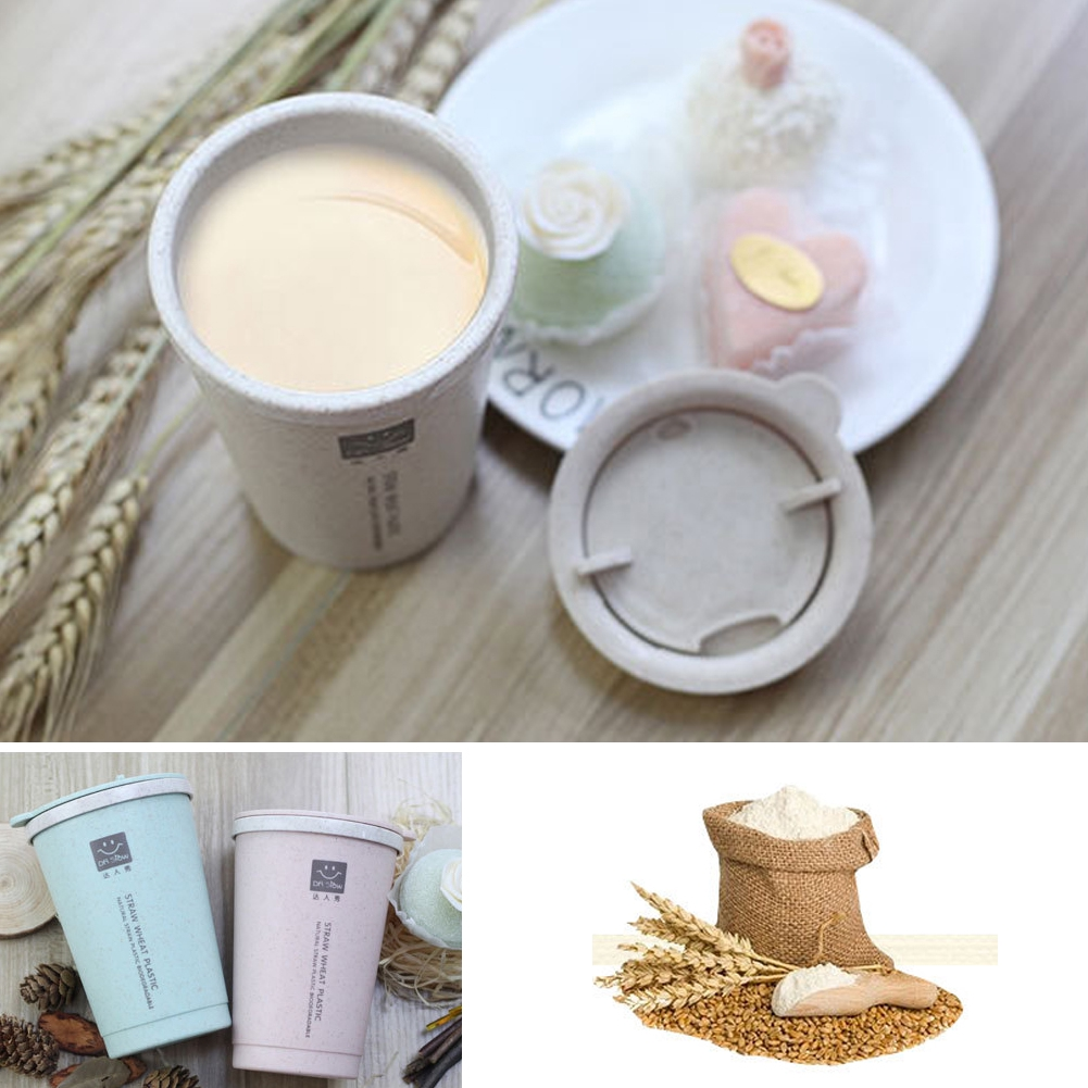 300ml Travel Portable Wheat Straw Double Wall Insulated Office Coffee Cup Gift