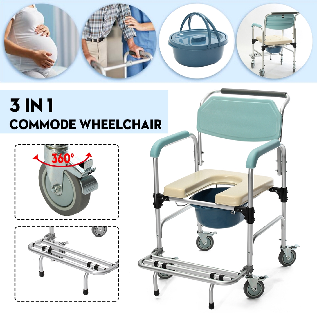 3-in-3 Commode Wheelchair Elder Folding Chair Bedside Toilet & Shower Seat  Bathroom Rolling Chair