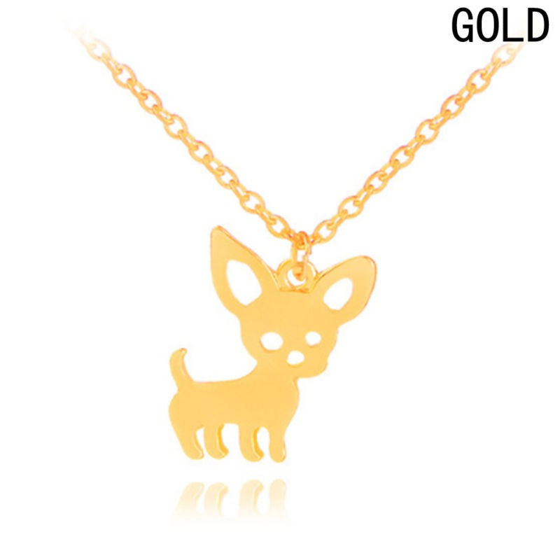 Women Gold Chihuahua Clavicle Chain Necklace Cute Dog Pendant Adjustable Chain