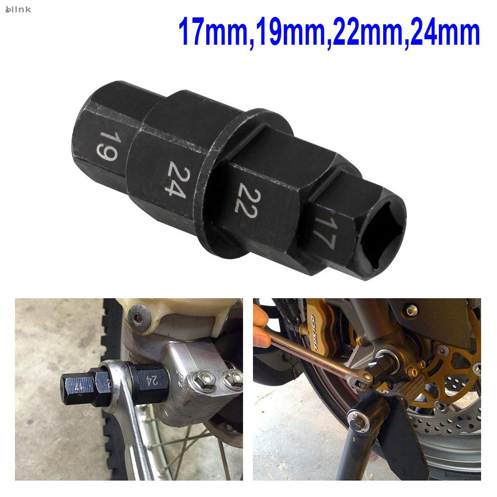 Motorcycle Wheel Hex Axle Wrench Key Tool Spindle Driver Adapter 17//19//22//24mm