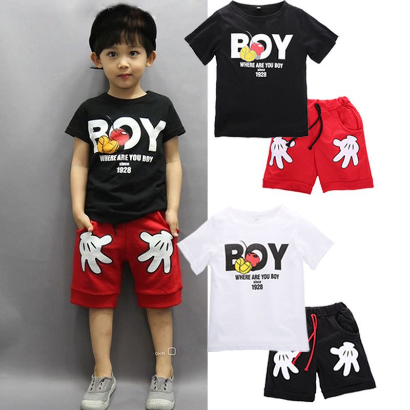 a63bb80389 ProductImage. ProductImage. Boy Kids Mickey Mouse Outfits T-shirt+Shorts ...