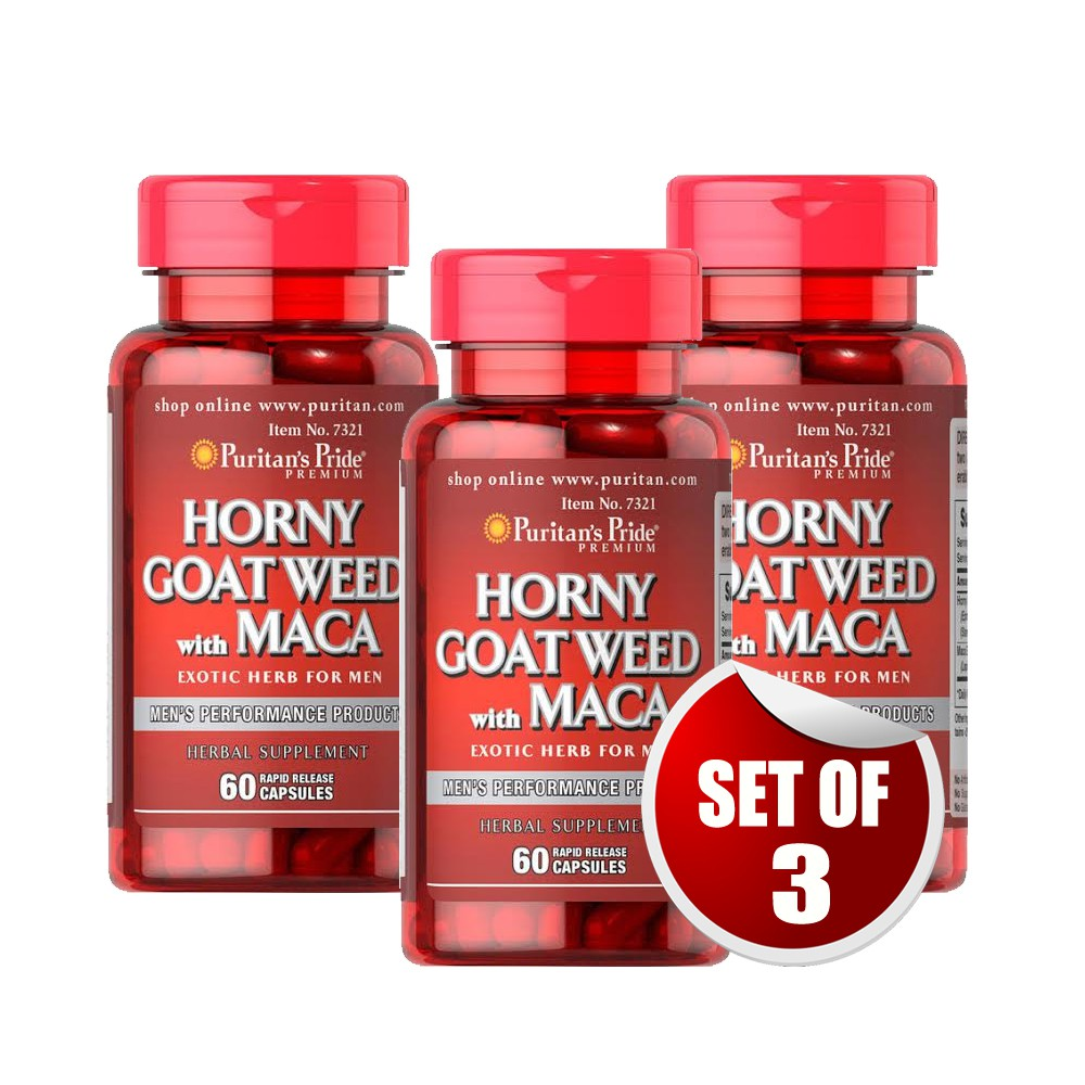 Horny Goat Weed Maca 500mg 60 Caps Men S Health Set Of 3