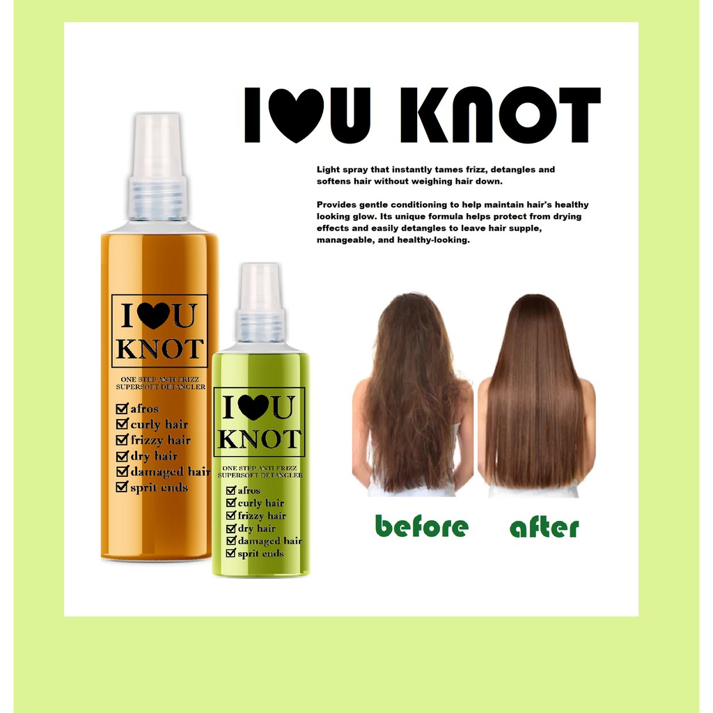 New Formula I Love U Knot Anti Frizz Spray Hair Detangler Shopee Philippines