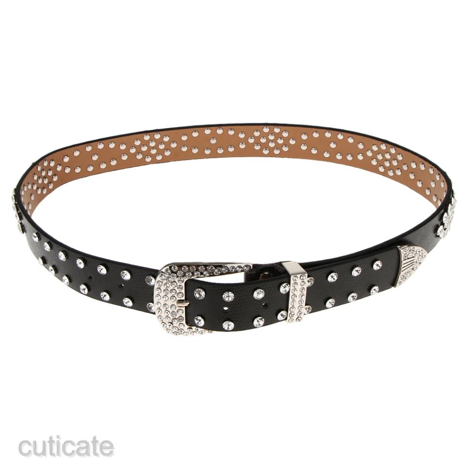 Glitter Rhinestone Crystal Studded Belt Women Western Leather Bling Waistband