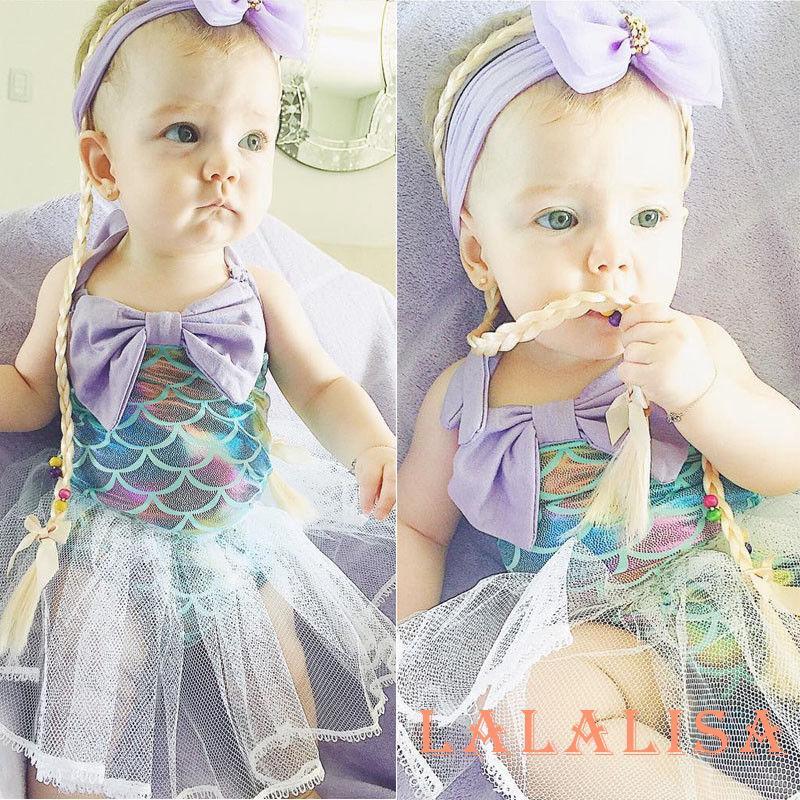 NEW Baby Girl Mermaid Ruffle Romper Bodysuit Jumpsuit 3-6 6-9 9-12 Months