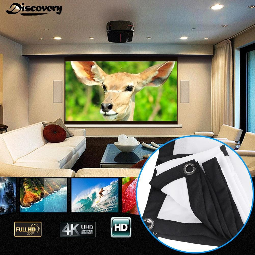 60-150 Inch 16:9 Film Theater Movie Projection Screen Canvas Projector Curtain