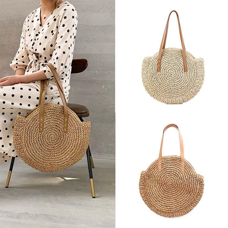 Women Boho Woven Handbag Tote Shoulder Bags Summer Beach Casual Straw Wicker Bag