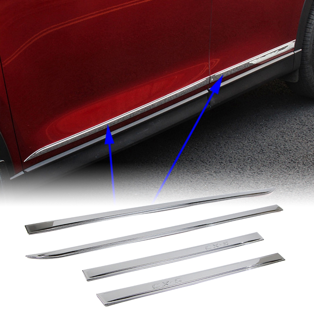 Outer Door Plate Sill Protector Cover For For Mazda CX-5 2nd Gen 2017 2018 RED