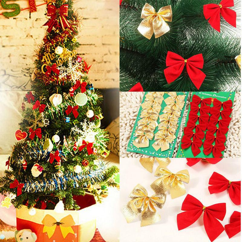 Colorful Christmas Tree Decorations.Luxury Xmas Bows Glitter Colors Christmas Tree Decoration