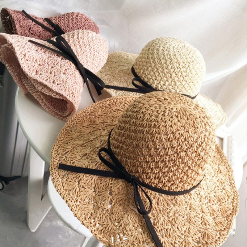 5caac93a354cd Womens Crochet Straw Sun Hat Wide Brim Woven Holiday Bucket