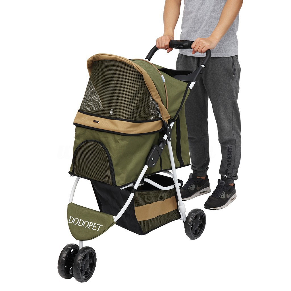 Pet Stroller Dog Cat 3 Wheels Travel Carrier Pushchair