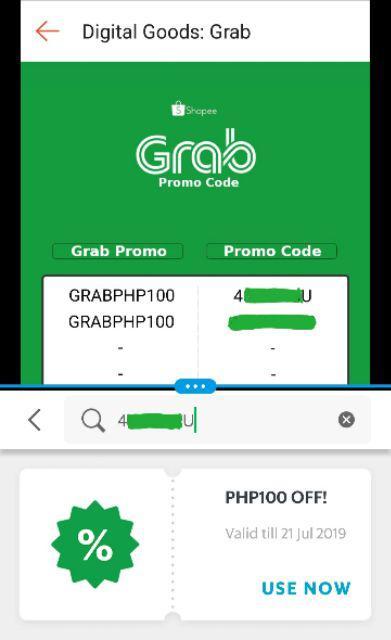 Grab Promo Code PHP 100