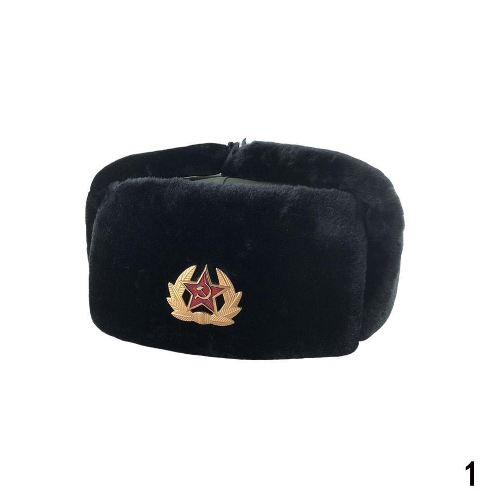 7c727357f RUSSIAN BLACK MILITARY WINTER USHANKA HAT WITH SOVIET | Shopee ...