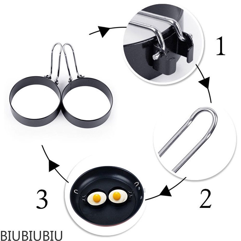Metal Egg Frying Rings Perfect Circle Round Fried//Poach Mould Handle Non Stick