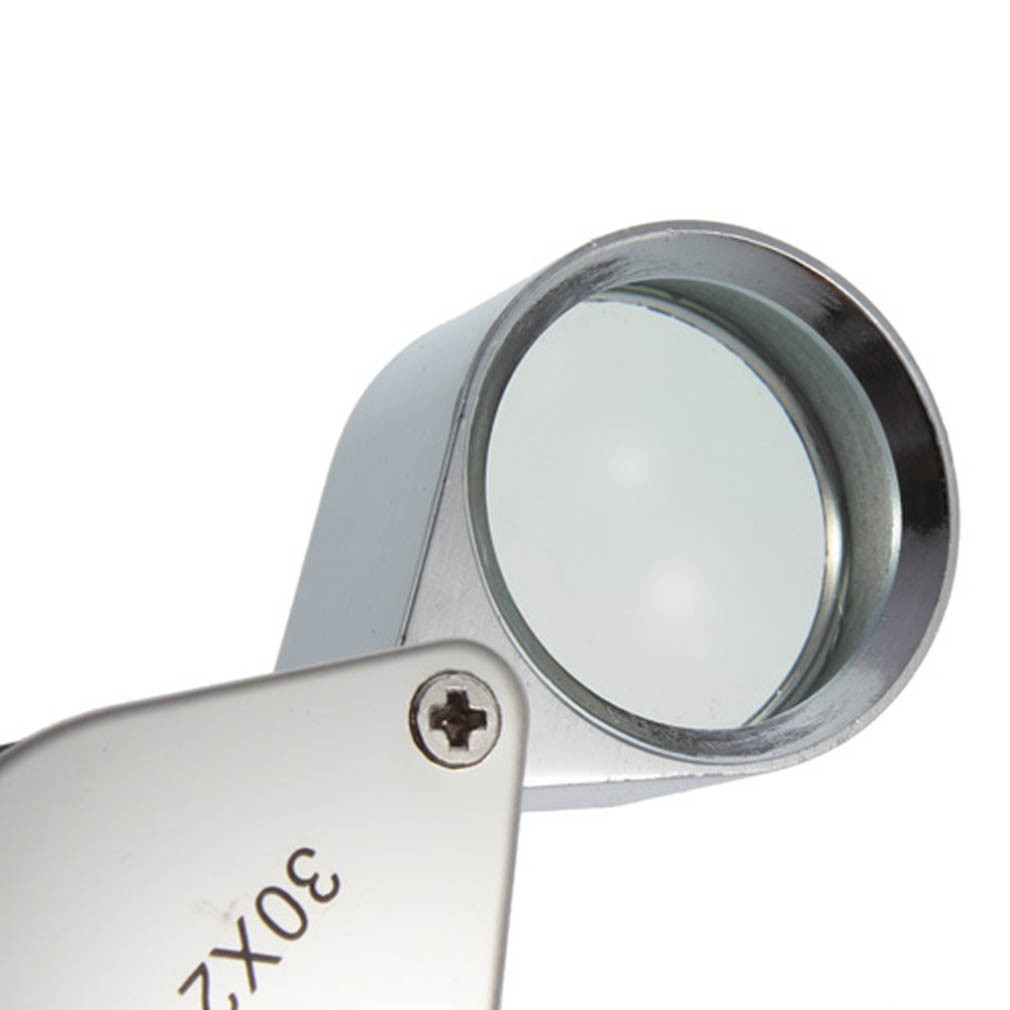20X 30X Jeweler Loupe Glass Diamond Loupe Metal Round Body Jewelers Eye Loupe Magnifier Magnifying 21mm Lens Diameter Silver Color 3 Pieces 10X