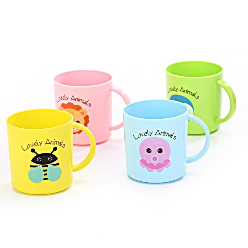 Zerodis 350 ml de Dibujos Animados port/átil Baby Straw Cup Double Handle Kid Kids Learn Drinking Cup sin BPA Verde