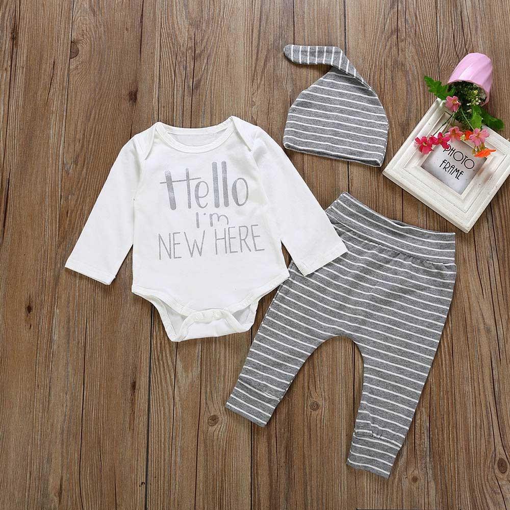 Newborn Kids Baby Boy 3PCS Letter Romper Bodysuit Pants Hat Outfits Clothes Set