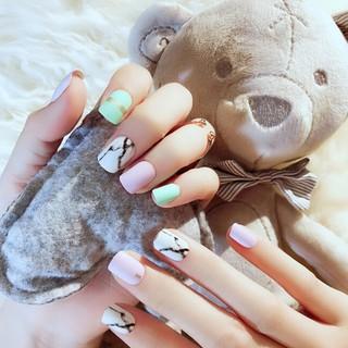 24Pcs/set DIY artificial short full cover false fake matte nails art tip S28