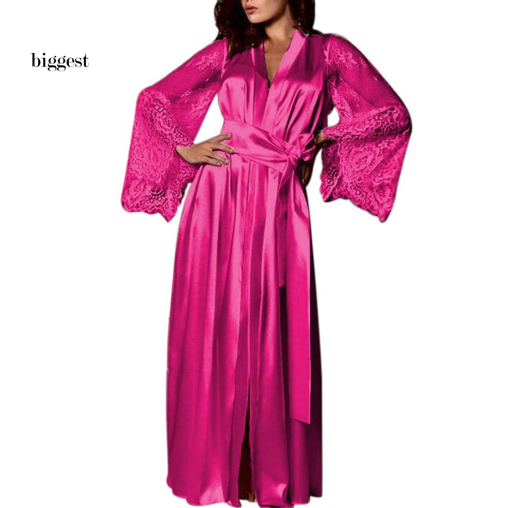 Dressing gown Women/'s Robes Women/'s Dressing Gowns Lace Female Bathrobe Above the Knee of Lace and Stretch Satin Bathrobe Lacy