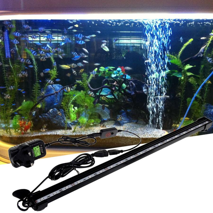 New 16cm Aquarium Fish Tank Waterproof Led Light Bar Submersible Air Bubble